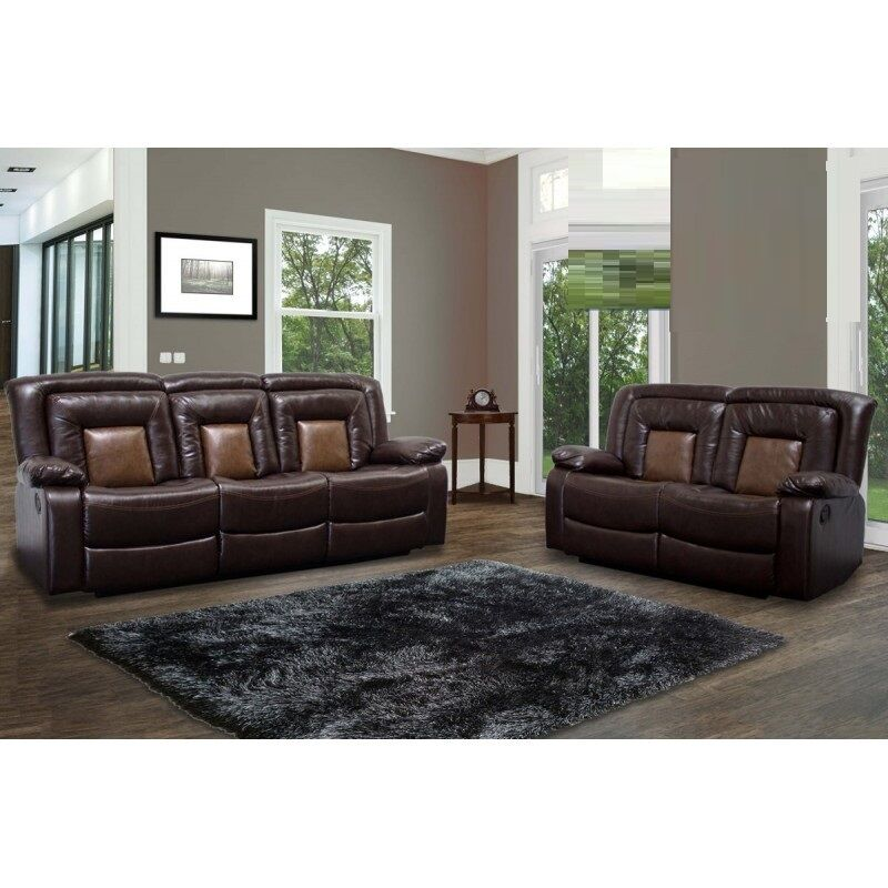 bonded leather sofa and loveseat muji reclining chair modern 2pc set chocolate brown living room ...