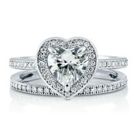 1.47ct Sterling Silver 925 Heart Shaped CZ Halo Engagement