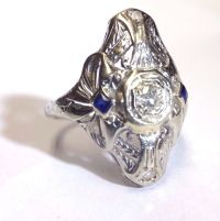Sweet Antique Art Deco 18K White Gold Diamond and French ...