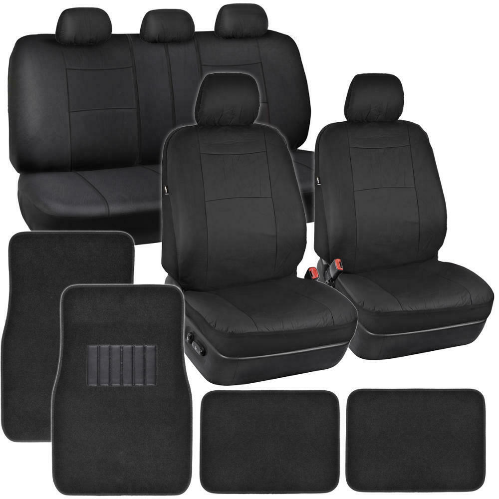 Car Seat Covers in Black  PU Leather w/ Carpet Rug Floor