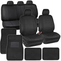 Car Seat Covers in Black  PU Leather w/ Carpet Rug Floor ...