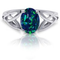 Dark Blue Fire Opal Infinity Celtic Oval Cut Birthstone ...