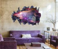 3D Galaxy Wall Sticker Decals Purple Outer Space Removable