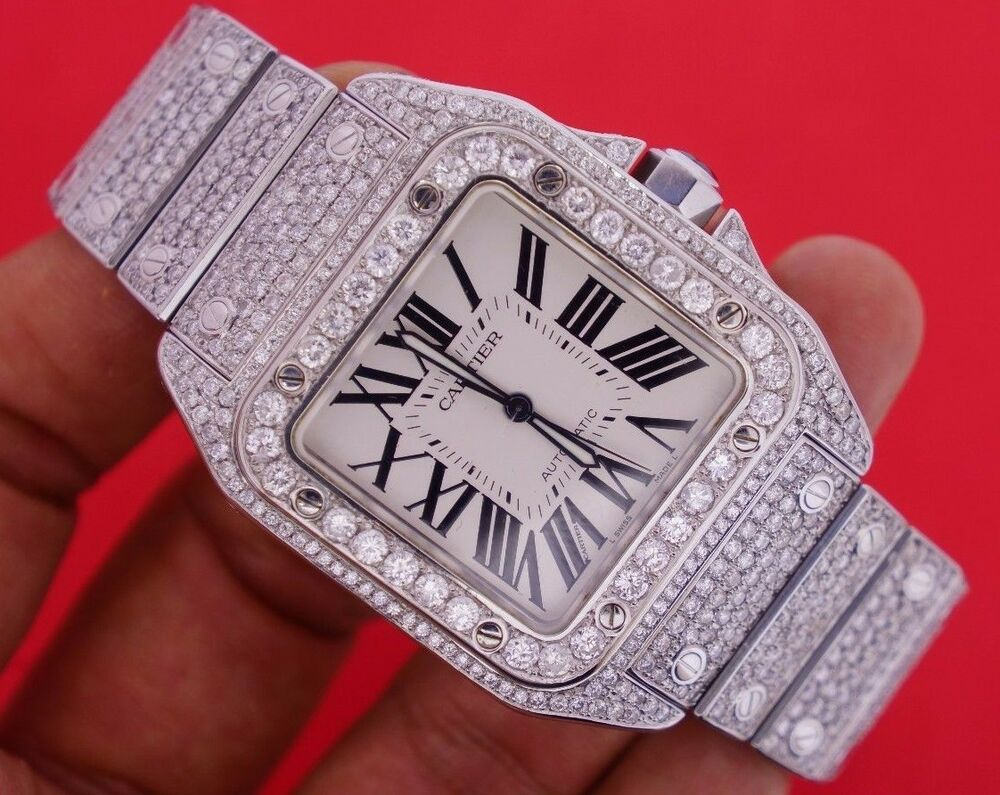 Mens Custom Cartier Santos 100 XL Watch With 22 Ct Diamonds Iced Out VIDEO DEAL EBay