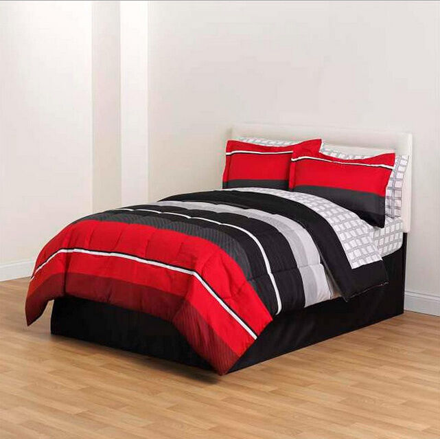 Red Black Gray Striped 8 piece Comforter Bedding Set Full Size  eBay