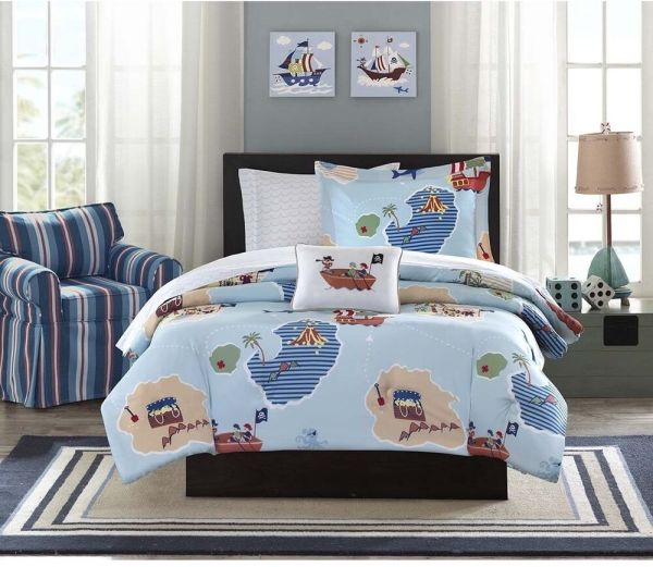 Nautical Pirates Twin Bed In Bag Comforter With Sheet Set Kids Room Bedding