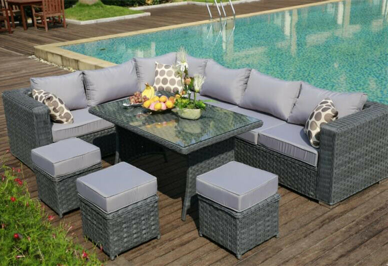 diy wicker chair cushions swivel leather chairs 9 seat 1 dining table rattan garden furniture conservatory sofa set grey | ebay