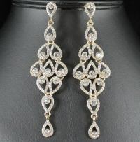 DROPS AUSTRIAN CRYSTAL RHINESTONE GOLD CHANDELIER DANGLE