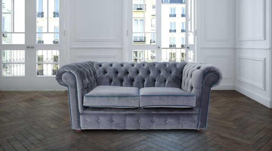 Chesterfield 2 Seater Malta Grey Velvet Blue Piping Fabric