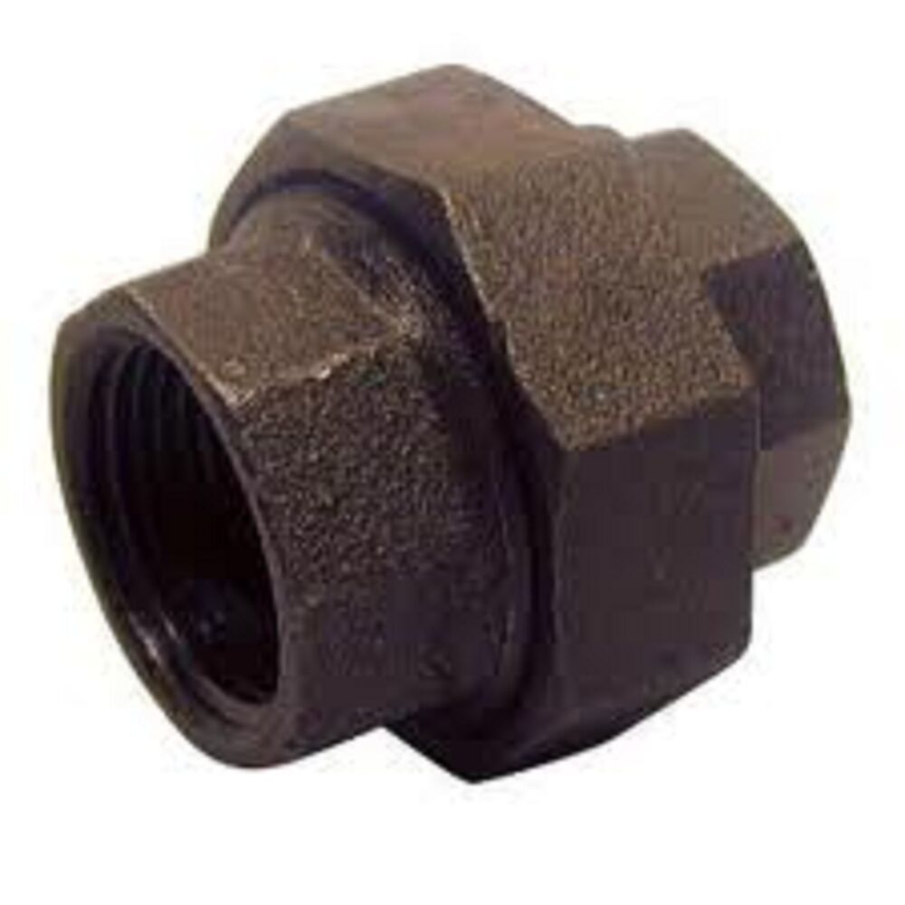 "3/4"" BLACK MALLEABLE UNION IRON PIPE FITTINGS THREADED"