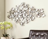 Round Mirror Wall Art Metal Modern Silver Circle Sculpture
