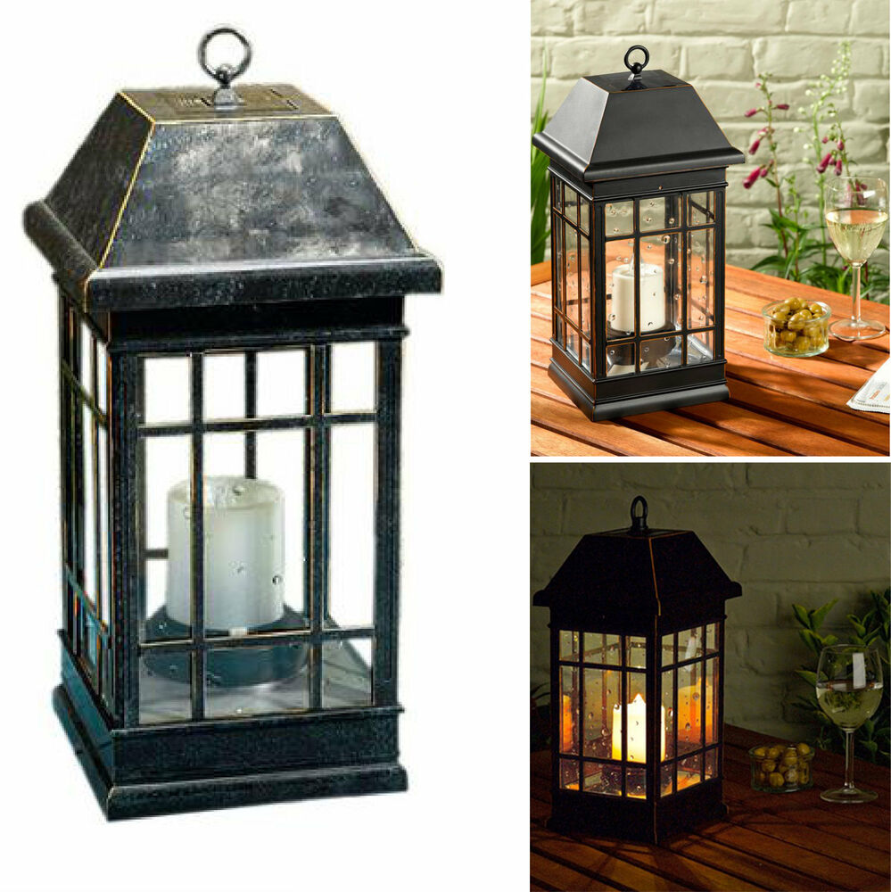 Outdoor Solar Lantern Hanging Light Led Pillar Candle Yard Patio Garden Lamp EBay