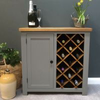 Tuscan Grey Painted Oak Wine Rack Storage / Drinks Cabinet ...