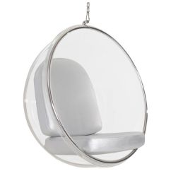 Eero Aarnio Bubble Chair Midcentury Modern Chairs Hanging With Silver Pu Leather Cushion Details About 3022