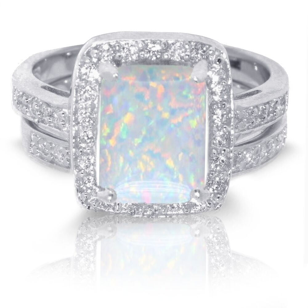 Large Emerald Cut White Fire Opal Wedding Engagement
