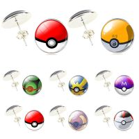 Silver Plated Glass Cabochon Pokemon Pokeball Anime