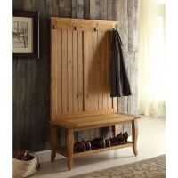 NEW Hall Tree Bench Coat Rack Entry Way Mud Room Wooden ...