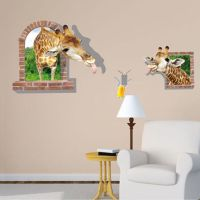 3D Giraffe Wall Sticker Removable Mural Decals Vinyl Art ...