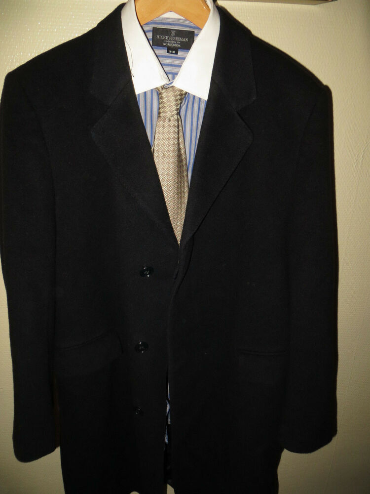 Selfridges London Made England Blue 100 Cashmere Mens Long Suit Over Coat Large EBay