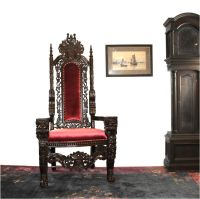 Giant Mahogany Throne Chair King Queen Santa Claus antique ...