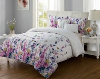 Vibrant Floral TWIN / XL Bed Comforter Set Pink Purple ...