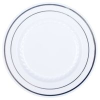 "9"" Premium Heavy Duty Plastic Dinner Plates White with ..."