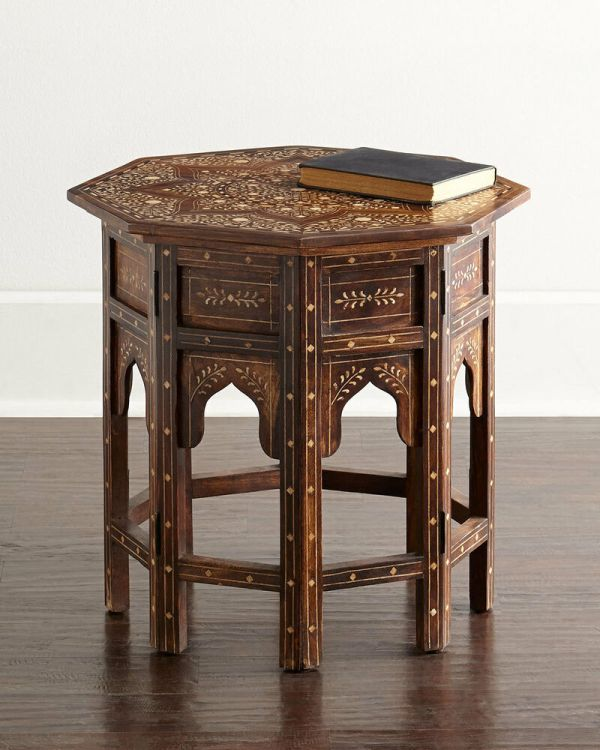 Bone Inlay Accent Table
