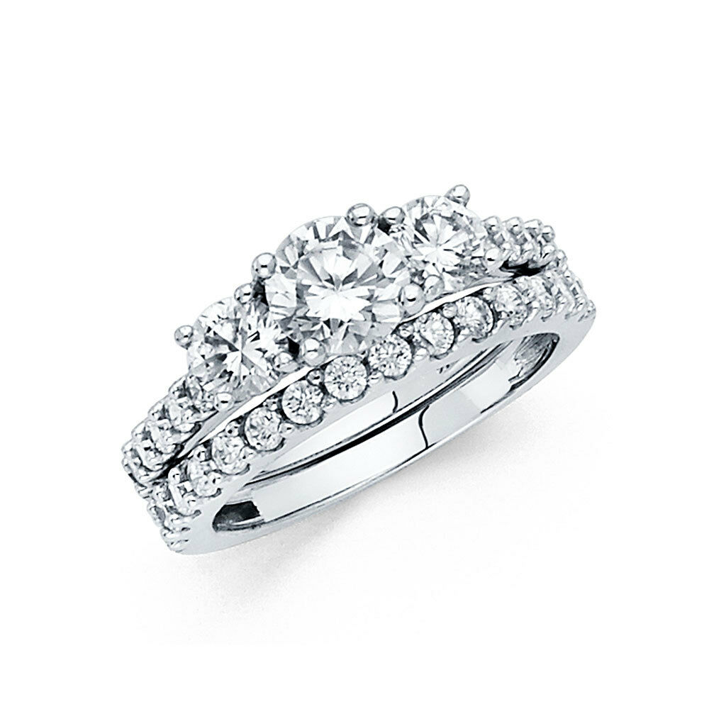 14k Solid White Gold 3.0 CT Diamond Ring Set Engagement