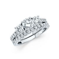 14k Solid White Gold 3.0 CT Diamond Ring Set Engagement ...