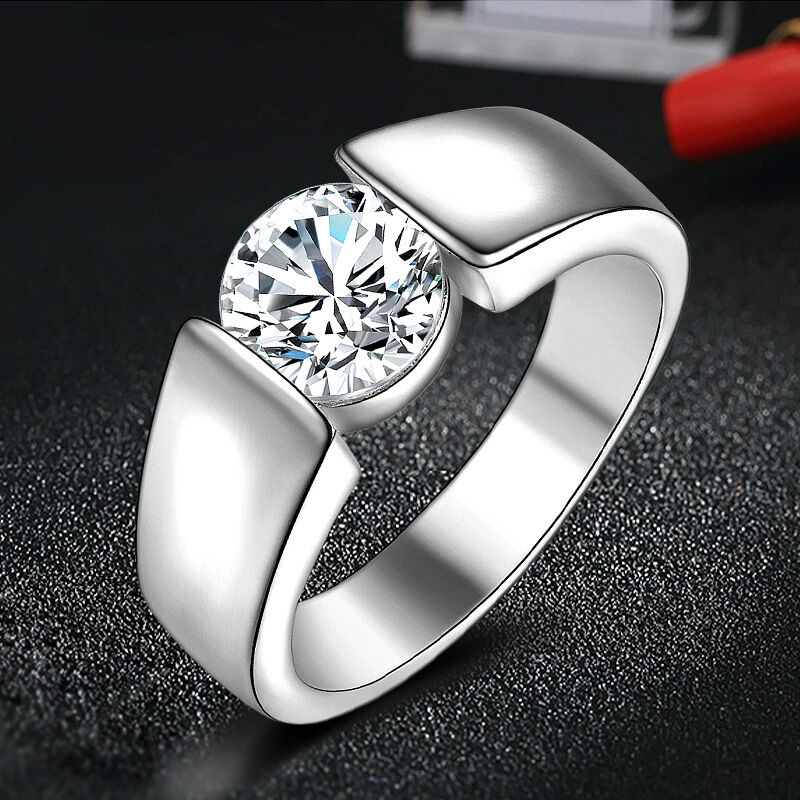 Wholesale Silver Crystal Engagement Promise Rings Women's