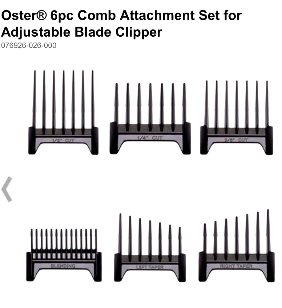 OSTER 6 PC GUIDE SET FITS 974, 284, 650, 820, CLIPPERS UPC