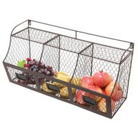 Hanging Fruit Basket Chicken Wire Rustic Wall Mount