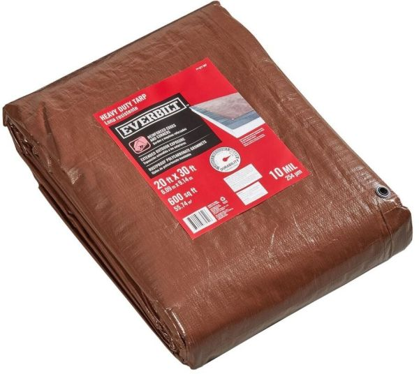 Large Brown Heavy-duty Tarp Shade Roof Cover Protector 10mil Thick 20 X 30 Feet