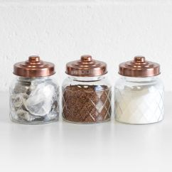 Canisters Kitchen Brushed Brass Faucet 3 X Glass Storage Jars Copper Lids Tea Coffee Sugar Details About Containers