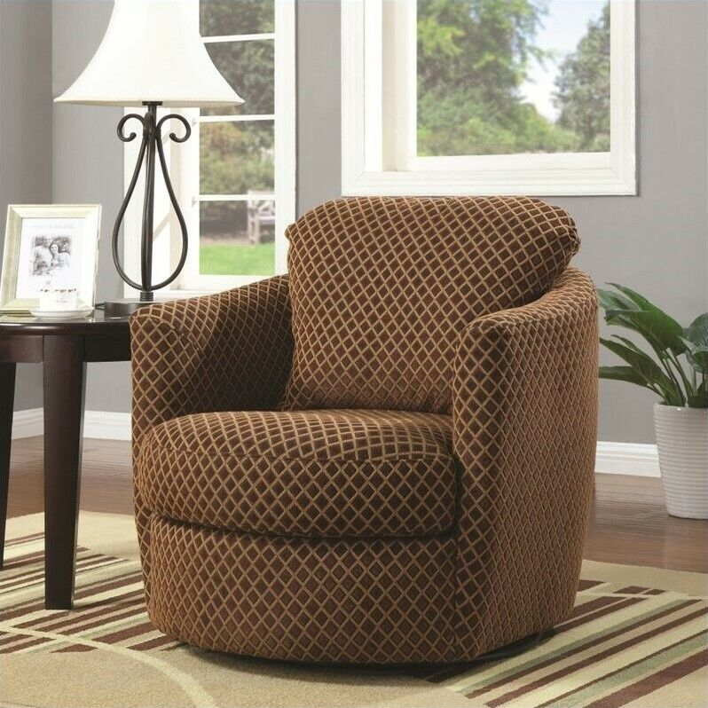 Coaster Swivel Diamond Pattern Upholstered Chair Accent