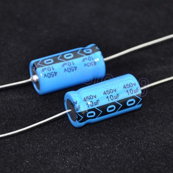 1pc Axial Leaded Electrolytic Capacitor 450v 10uf Guitar Tube Audio Amp Blue