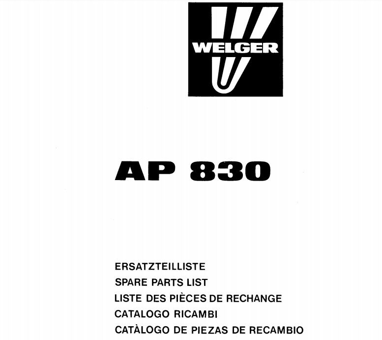 Welger AP830 Baler Parts Manual (PDF file) SPARE PARTS