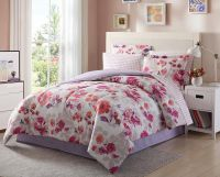 Light Dark Purple Pink White Floral 8 Piece Comforter ...