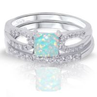 Princess Cut Turquoise Fire Opal Engagement Wedding ...
