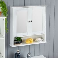 White Bathroom Wall Cabinet Mirrored Door Wooden Shelf