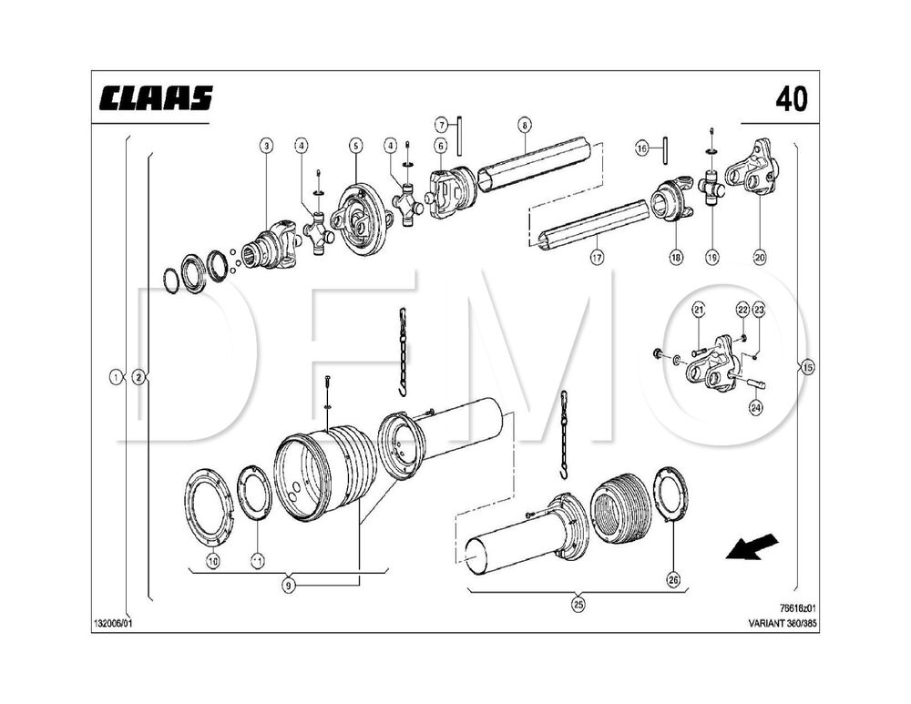 Claas Variant 360/365/RF/RC Spare Parts Catalogue