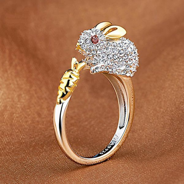 Cute Finger Ring Crystals Bunny Jewelry Animal