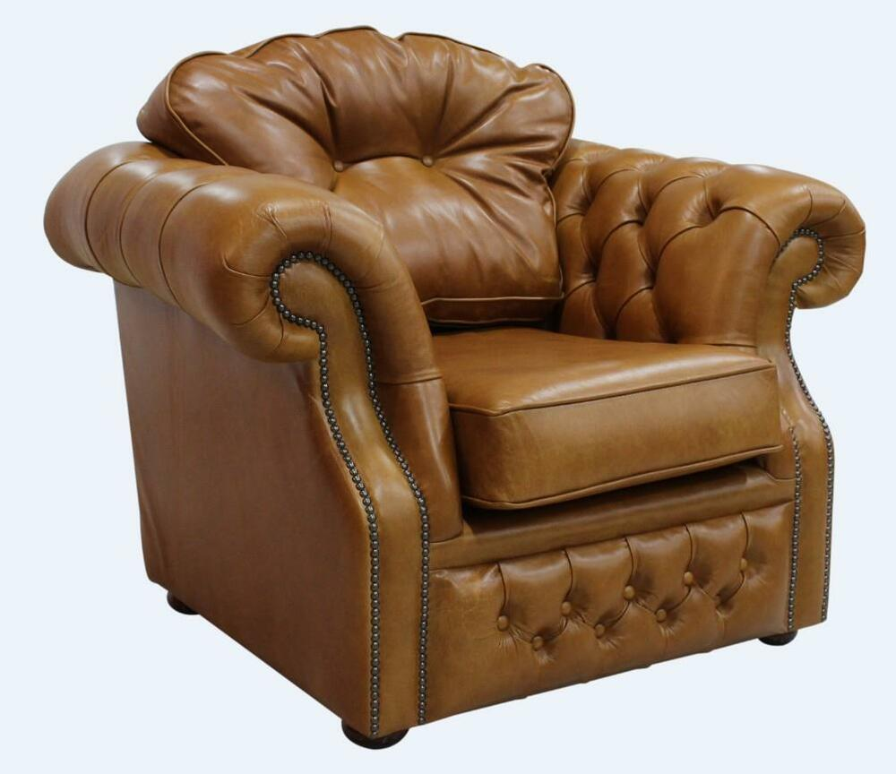 Handmade Chesterfield Era 1 Seater Old English Saddle Tan