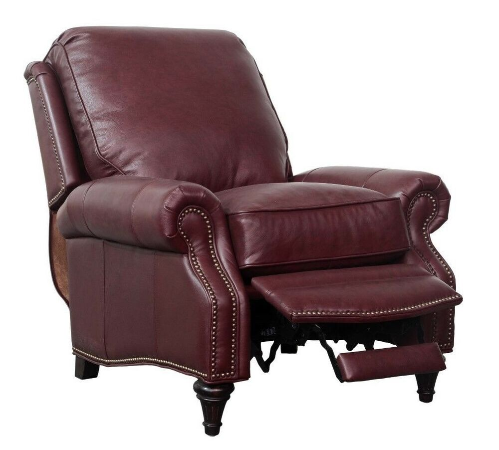 Leather Reclining Chairs Barcalounger Avery Genuine Shoreham Wine Leather Recliner Chair 7 2160 5700 76 7438056290282 Ebay