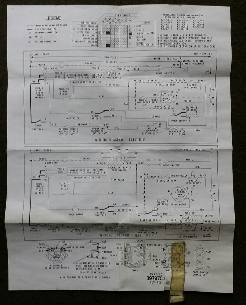 hight resolution of details about oem whirlpool dryer part lot 3979703 electrical wiring diagram