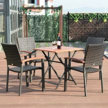 4pcs Set In Outdoor Rattan Wicker Dining Chairs Armchair