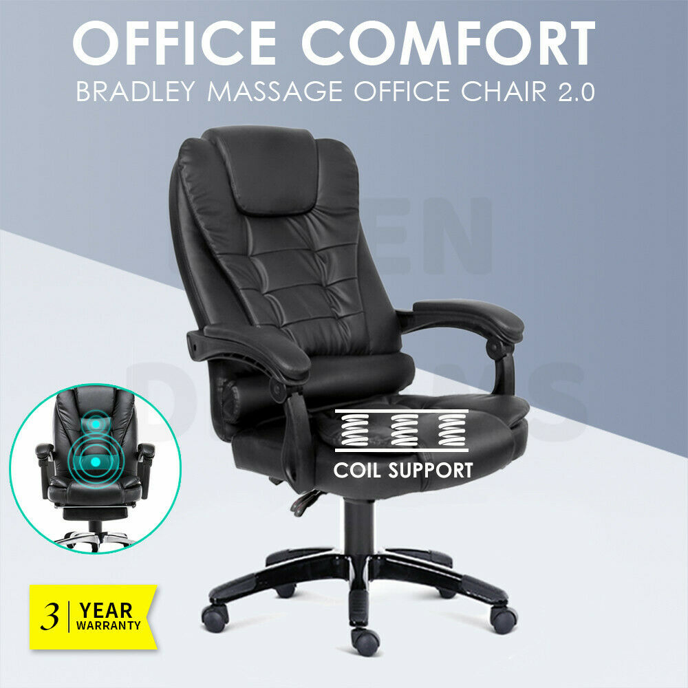 Massage Office Chair Executive Massage Office Chair Premium Pu Leather Recliner Computer Gaming Seat Ebay