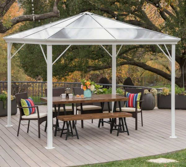 Hardtop Gazebo Aluminum Metal Pergola 10x10 Outdoor Garden Canopy Shade Hard Top