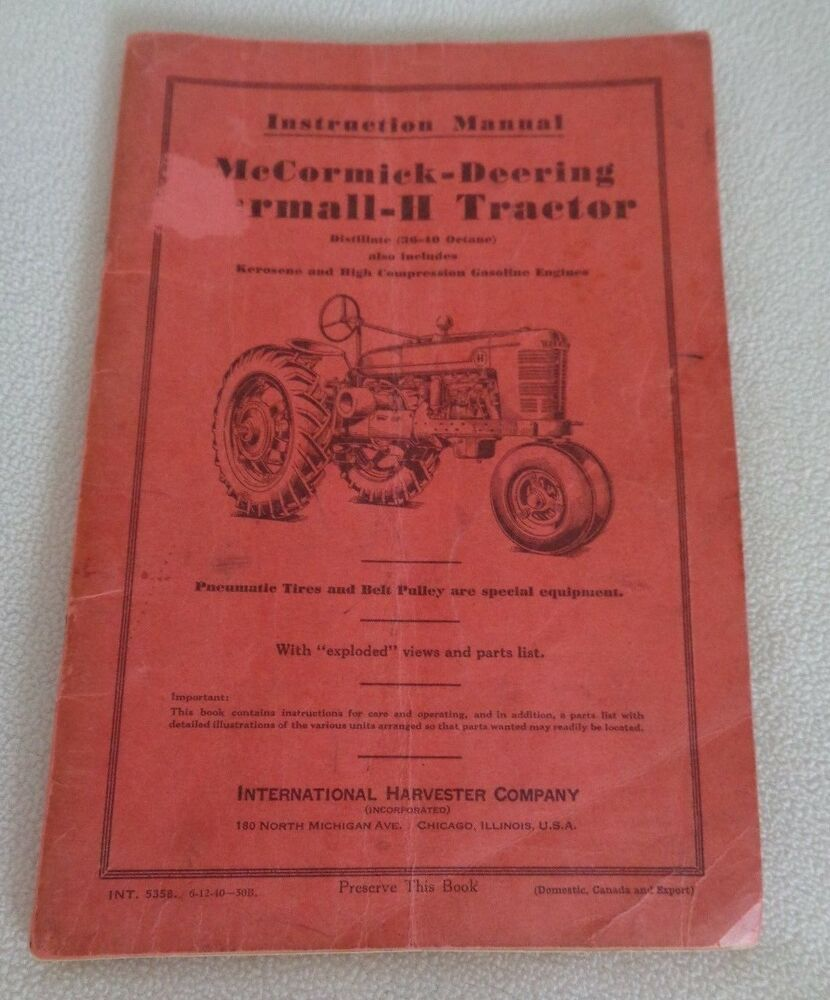 medium resolution of details about 1940 instruction manual mccormick deering farmall h tractor i h co