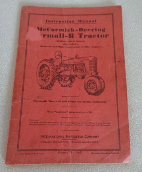 small resolution of details about 1940 instruction manual mccormick deering farmall h tractor i h co